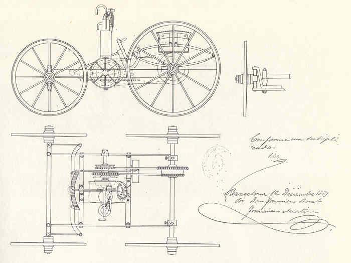 Diseño inicial de Bonet. Vehículo de 4 ruedas. Crédito: vehiculoclasico.es