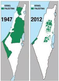 Territorio palestino e israelí establecido por la ONU en 1947 y la actual realidad territorial de Palestina.  Crédito: islamiacu.blogspot.com