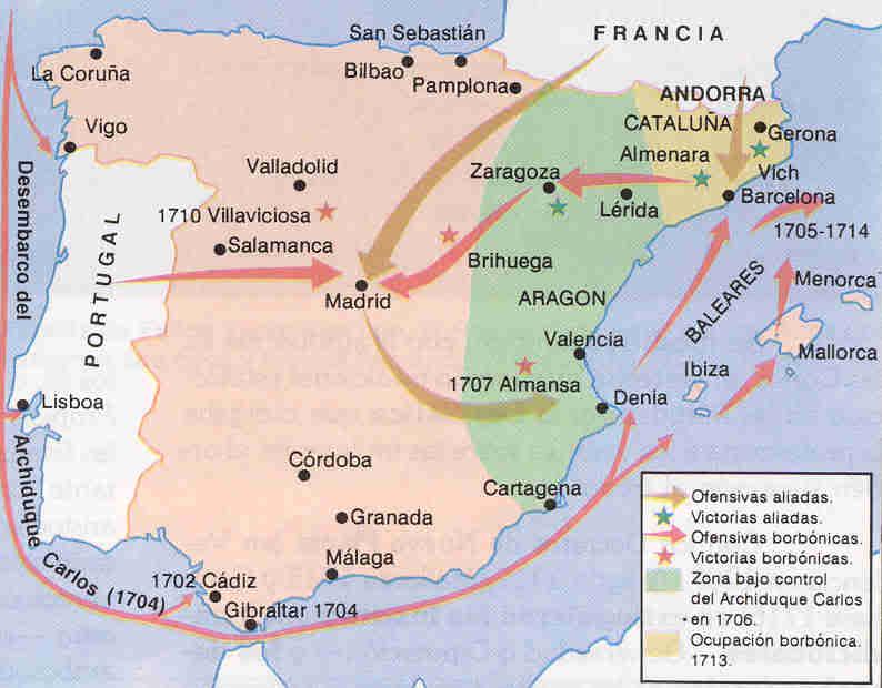 Movimientos militares y principales batallas en España. Crédito: www.elgrancapitan.org
