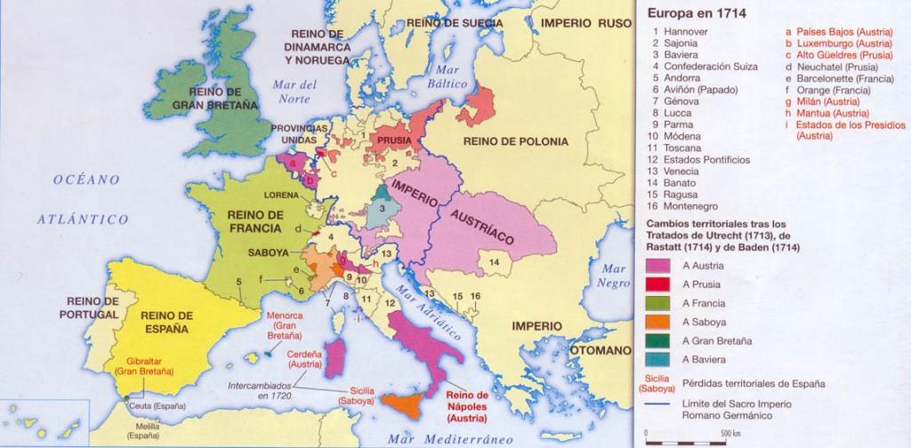 Europa tras el Tratado de Utrecht y Rasttat. Crédito: joseantoniomora.50webs.com