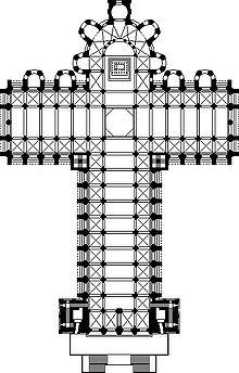 Planta de la Catedral de Santiago de Compostela Crédito:: Wikimedia Commons