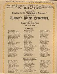 Reproducción original de las mujeres y hombres que firmaron el Manifiesto de Seneca Falls Crédito: clasicasymodernas.org