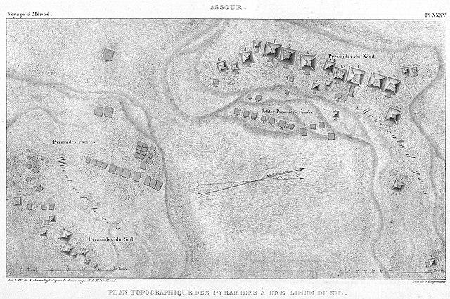 Mapa de 1821 de las pirámides olvidadas de Nubia