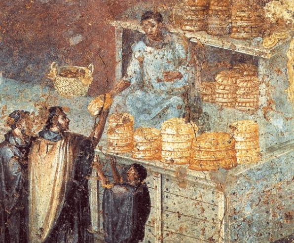 Recreación de la pastelería romana o pastillariorum