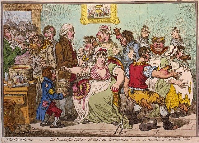 Caricatura sobre la primera vacuna