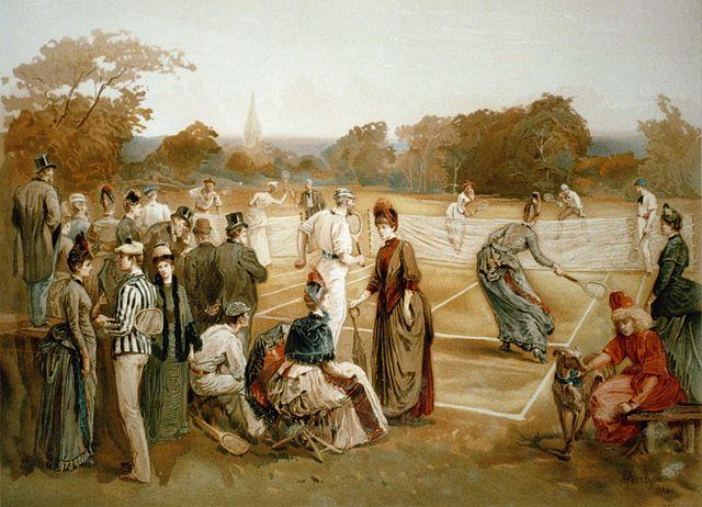 Ilustración fiebre del tenis s. XIX